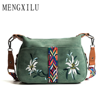 MENGXILU 2018 Fashion Floral Embroidery Women Messenger Bag Ladies Crossbody Bags Handbags Women Famous Brand Bolsa