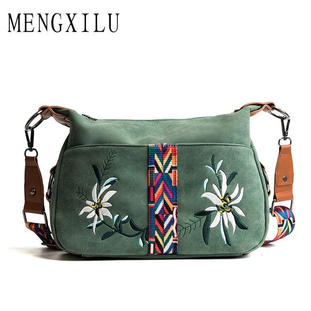 MENGXILU Мода 2018 г. Цветочный Вышивка для женщин сумка дамы сумки через плечо известный бренд Bolsa Feminina