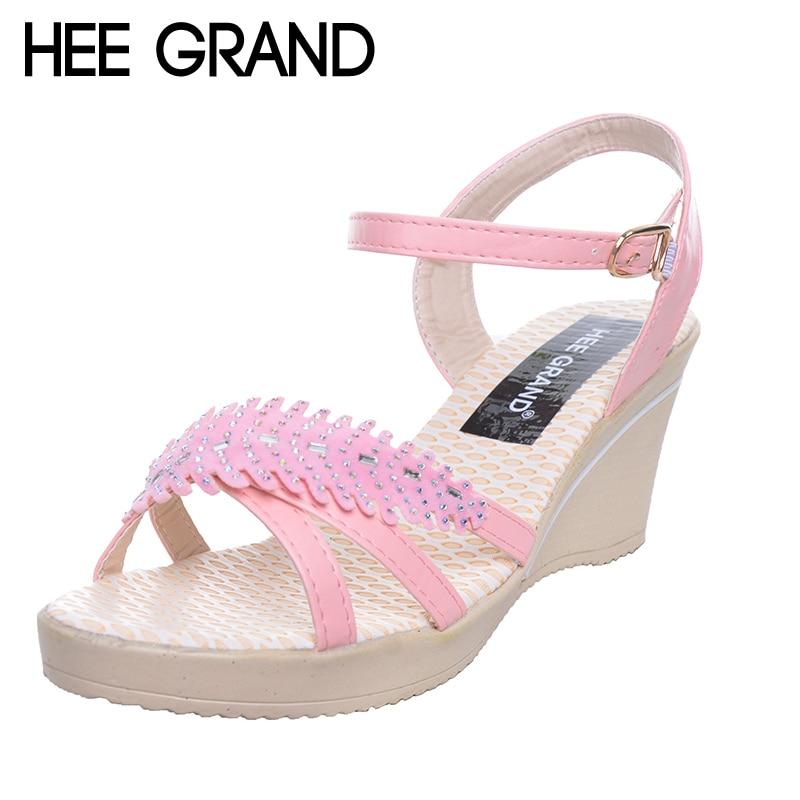 030ad6eea1b HEE GRAND Γυναικεία Σφήνες Σανδάλια Φύλλα Κρύσταλλο Peep Toe ...