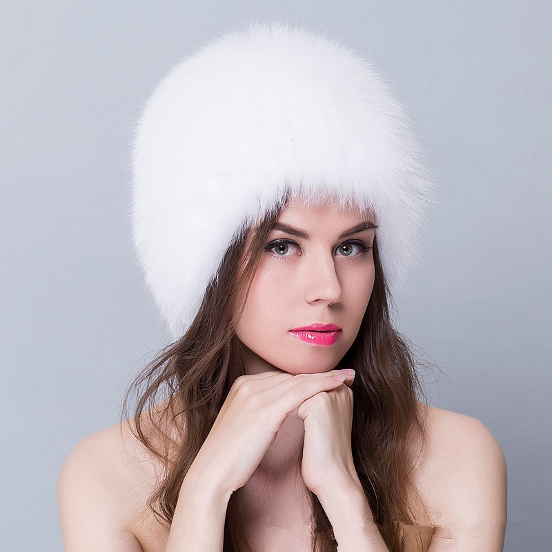 Real Fox Fur Hat Women Winter Knitted Mink Fur Beanies Cap With Cute Ears Hot sale New Thick Female Fur Hat cx c 128c hot sale fashion women mink fur wholesale woman mink fur women hat drop shipping