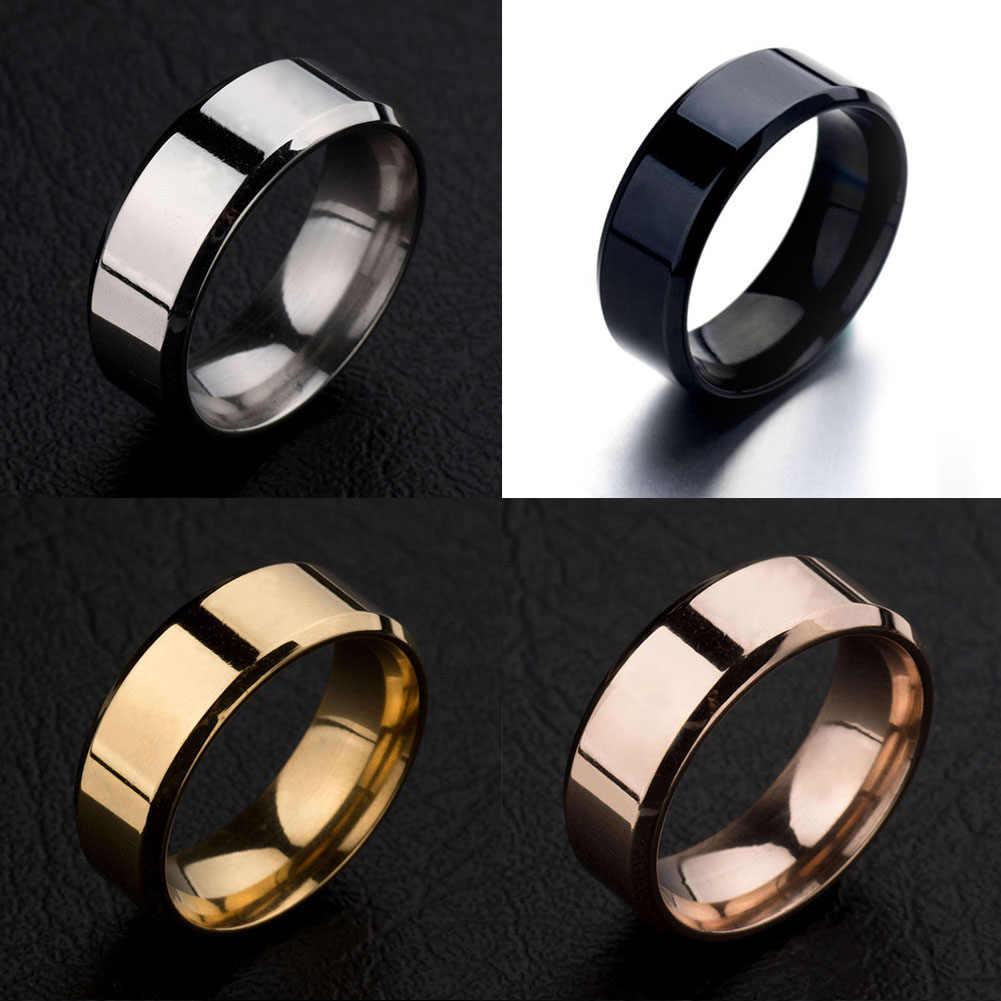 Charming Kualitas Tinggi 4 Warna Hitam Emas Perak Merah Stainless Steel Cincin Fashion Jewelry Aksesoris Laki-laki