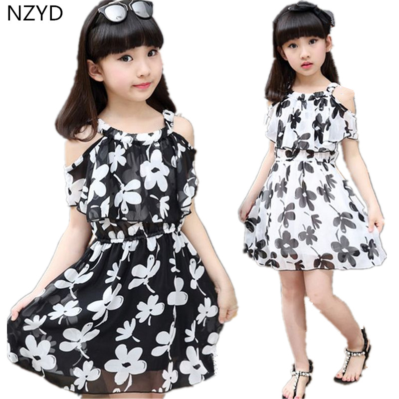 Summer Fashion Girls Dress 2017 New Printing O-Neck Children Clothes Casual Beautiful Girl Dresses 3-13Y DC180 женское платье summer dress 2015cute o women dress