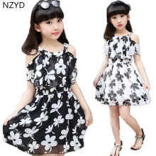 Summer Fashion Girls Dress 2017 New Printing O-Neck Children Clothes Casual Beautiful Girl Dresses 3-13Y DC180