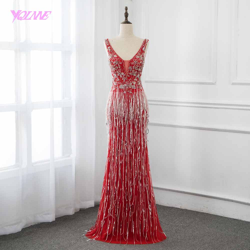 2019 Fashion Red Long Crystals   Evening     Dress   Sleeveless Tassels Pageant   Dresses   Robe de Soiree YQLNNE