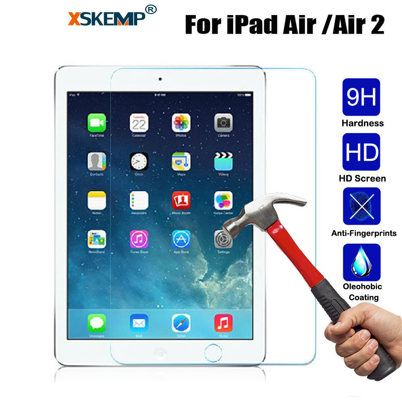 XSKEMP 9H Hardness Tablet Tempered Glass For Apple iPad Air Air2 9.7 inch Anti-Explosion Clear Screen Protector Protective Film epgate a00673 9h hardness super tempered glass screen protector for iphone plus grey