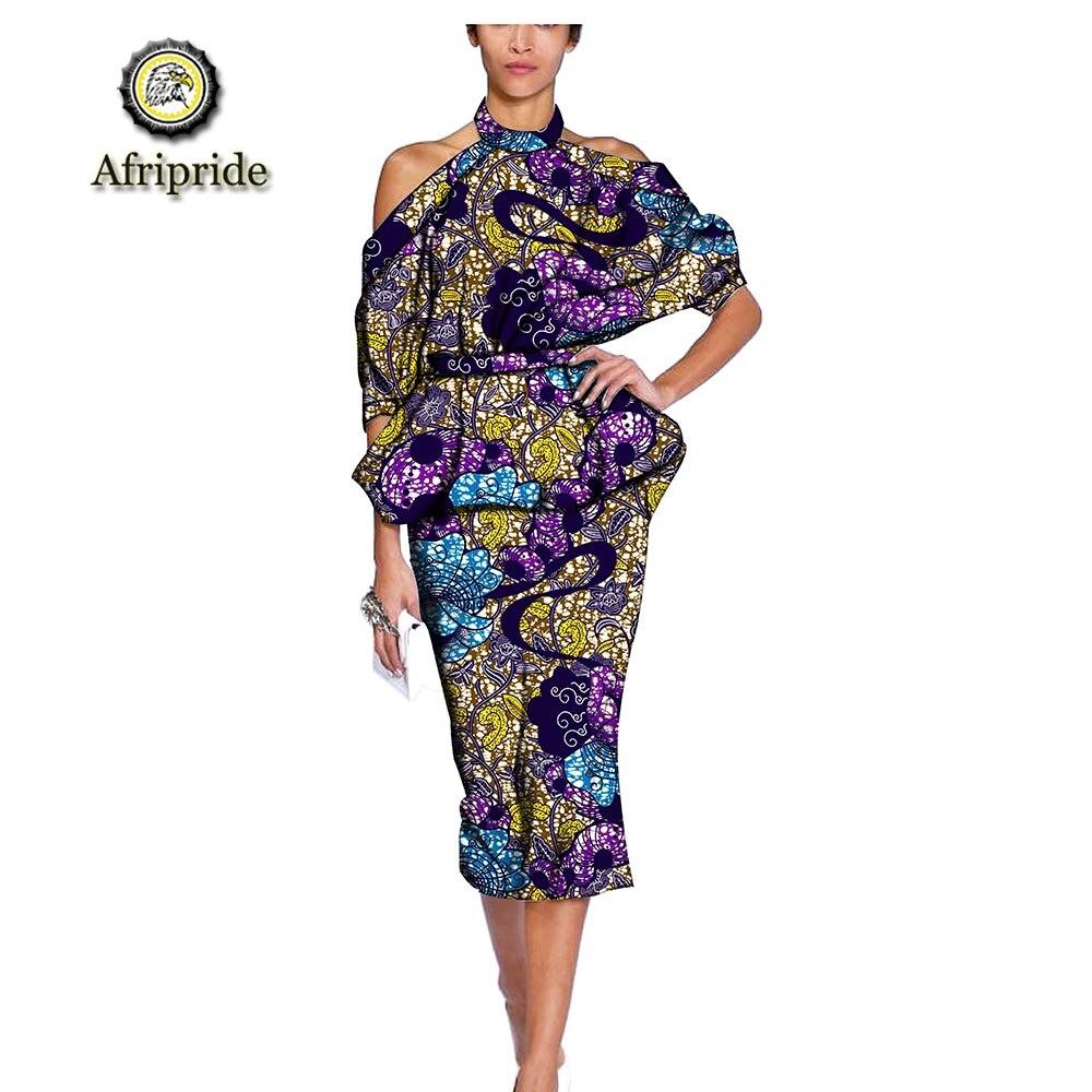 AFRIPRIDE ชุดแอฟริกันสำหรับผู้หญิง สปาเก็ตตี้สายคล้องคออย่างเป็นทางการเสื้อผ้า dashiki