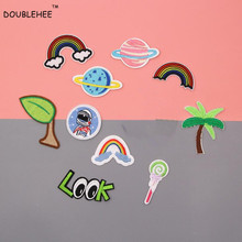 DOUBLEHEE Green Leaves Live Planet Patches Embroidered Iron On Patch For Clothing Sticker Badge Clothes Bag Pants