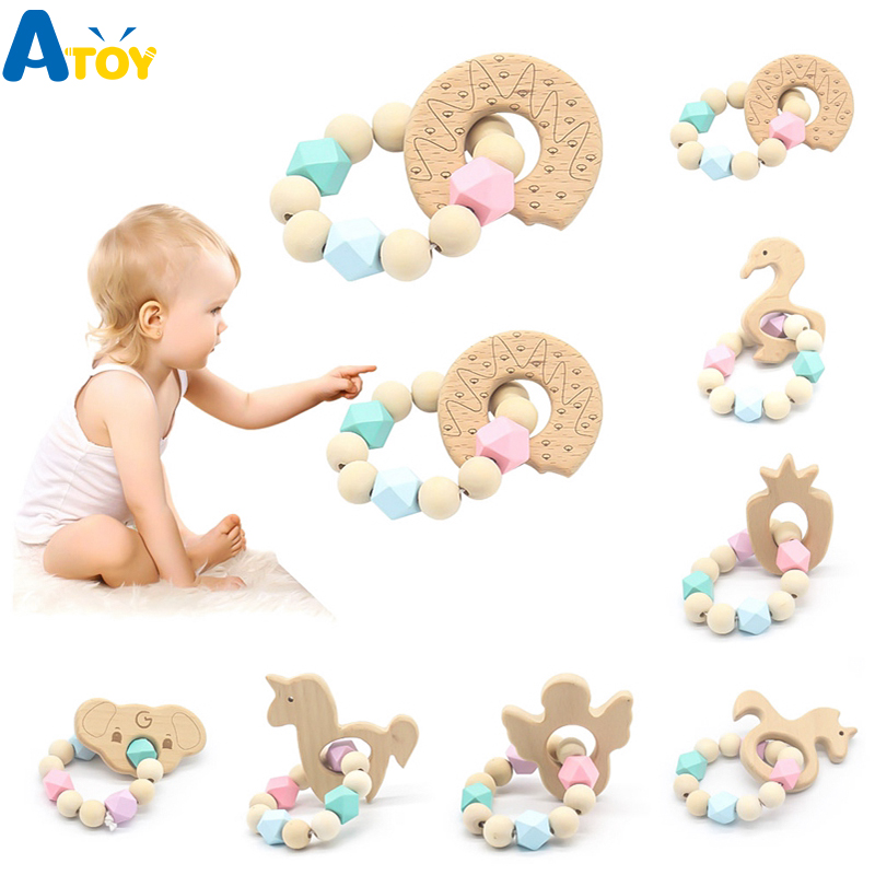Baby Safe Nursing Bracelet Silicone Bead Teething Rattles Toy Molar Chew Teether