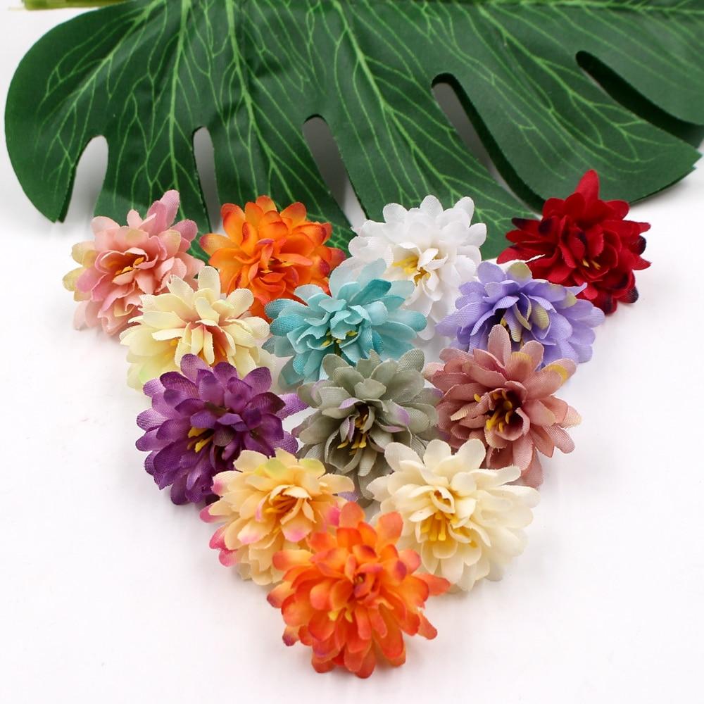 20pcs 3cm Artificial Flower silk Carnation flower head Wedding Decoration DIY Wreath Gift Scrapbooking Craft Fake Flower
