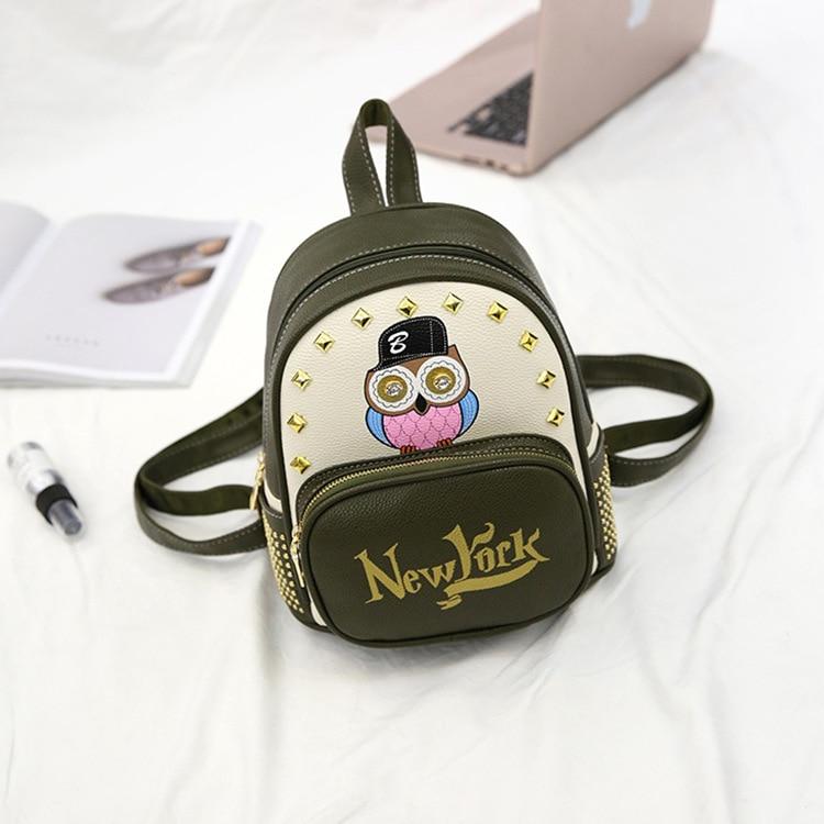 New Pu Female Mini Bag Womens Backpack Baby Girls Cute Owl Backpacks School High Quality Bead Shoulder Bag Fashion Causal Bags
