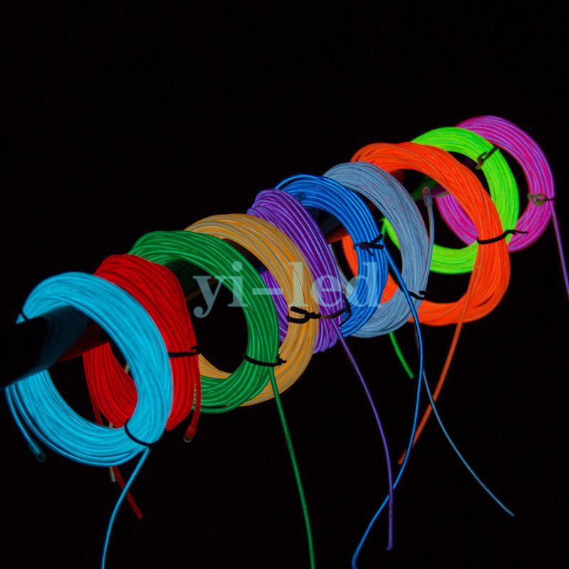 10sets 3M Flexible Neon light EL Light wire Rope Tube Red Green ...