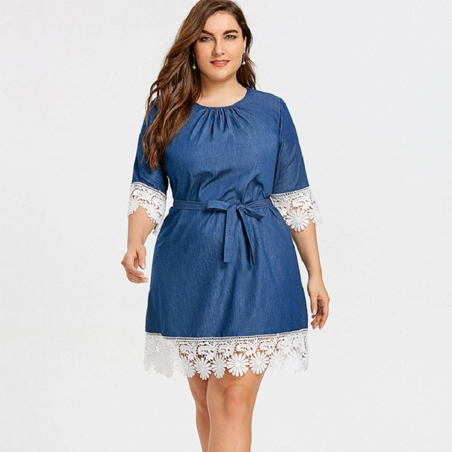 104f69e8dd Soft Denim Dress Big Size 2018 Autumn Women Half Sleeve Lace Hem Loose Blue  Tunic Jeans Dress Plus Size Clothing XL- 5XL