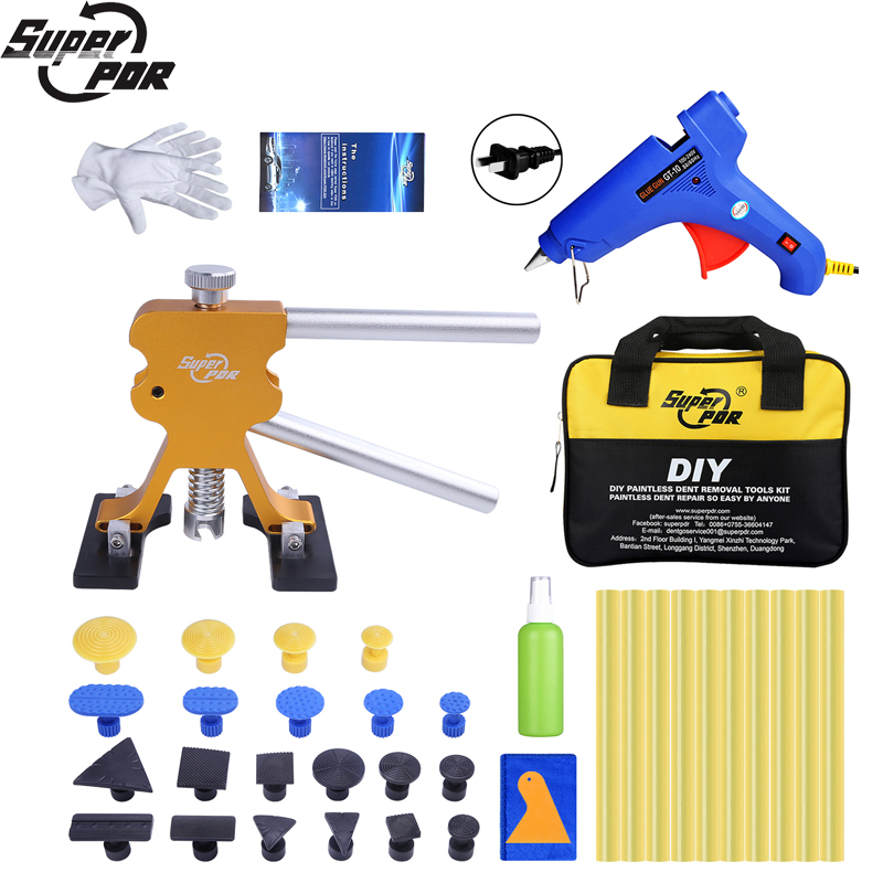 Super PDR Tools Kit For Car Dent Pullers Suction Cup Glue Tabs Paintless Dent Repair Tool Hot Adhesive Glue Sticks For Glue Guns pdr tools for car kit dent lifter glue tabs suction cup hot melt glue sticks paintless dent repair tools hand tools set