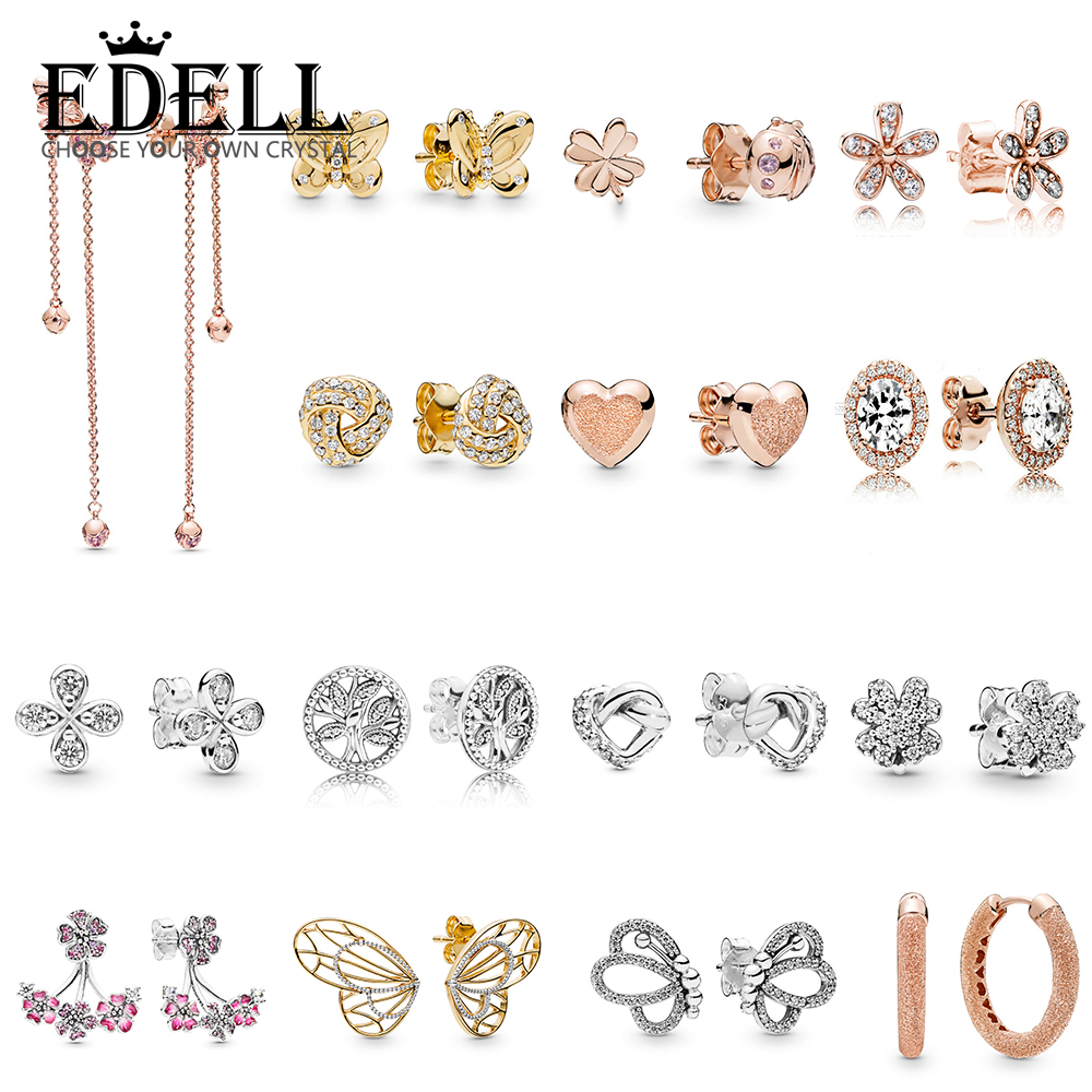 EDELL 100% 925 Sterling Silver Butterflies Four-Leaf Clover and Ladybird Trees of Life Knotted Hearts Peach blossom EarringEDELL 100% 925 Sterling Silver Butterflies Four-Leaf Clover and Ladybird Trees of Life Knotted Hearts Peach blossom Earring