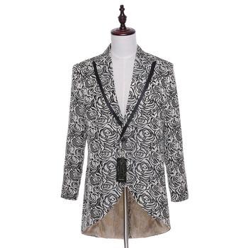 2020 New Spring Autumn Casual Men Suit Jacket Blazer Floral Pattern Slim Fit Hi-Lo England Style Male Jacket Size XS-4XL CUSTOM