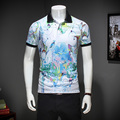 NEW arrival Floral Print M-3XL 2017 Summer Short Sleeve Polo Shirt Men Business Casual Mens Polo Shirts