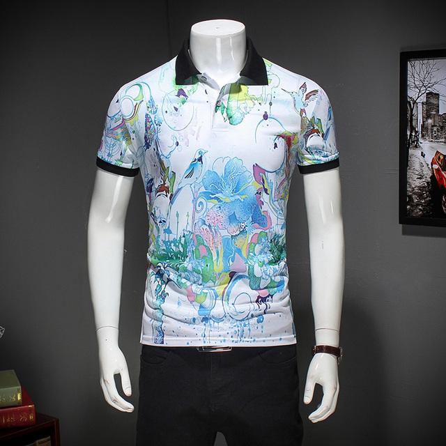 Nueva llegada de la impresión floral m-3xl 2017 verano de manga corta polo camisa de los hombres de negocios casual para hombre camisas de polo
