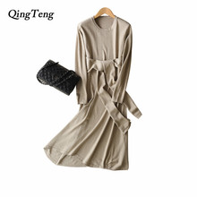QingTeng Women s Dress Knitted With Wide Belt Spring Autumn Wool Long Sleeve Dresses For Women