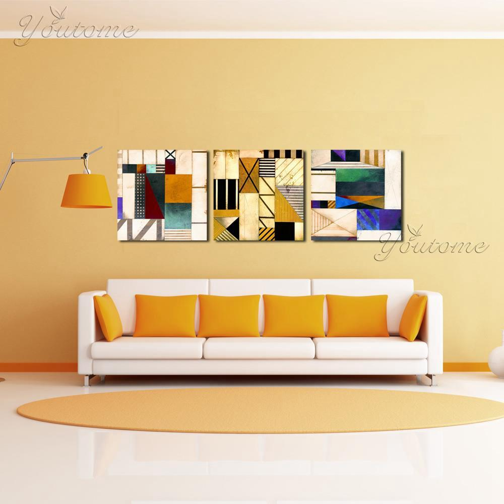 Yellow Wall Abstract Canvas Art Prints Cheap Modern Paintings Wall Pictures For Living Room In