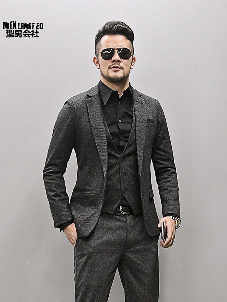 Autumn Winter New Woolen Slim Casual Men Brand Business Suit Gentleman British Style Wedding Blazer Black Striped Suit For Men As Effectively As A Fairy Does