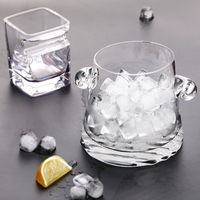 Bar Crystal Glass Ice Bucket Brief Transparent Ice Container Whiskey Beer Cold Drinking Bucket Barware KTV Double Earing Ice Cup