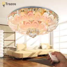 2017 Peacock Round Crystal Ceiling Light For Living Room Indoor Lamp with Remote Controlled luminaria home decoration