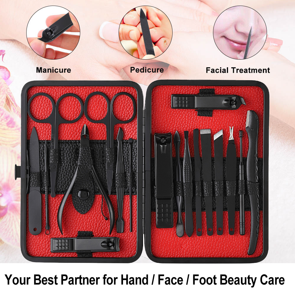 Image 2 - 18pcs Pro Manicure Set Nail Kit Nail Art Tools All For Manicure Sets Pedicure Care With Pusher Ingrown Nail File Polish Tweezer-in Sets & Kits from Beauty & Health