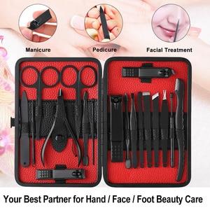 Image 4 - 18pcs Pro Manicure Set Nail Kit Nail Art Tools All For Manicure Sets Pedicure Care With Pusher Ingrown Nail File Polish Tweezer