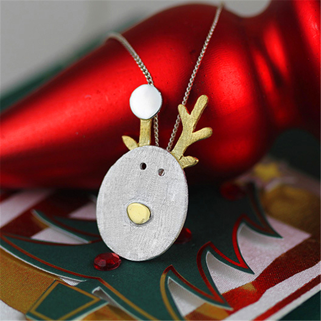 Exclusive! The Joy Of Christmas Adorable Reindeer Design Necklace Pendant  Newest Fashion Jewelry Real 925 Sterling Silver
