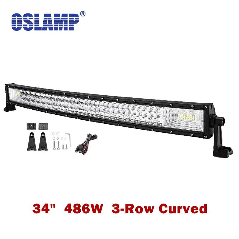 Oslamp Curved 34inch 486W 3 Row LED Work Light Bar Combo Beam Led Bar Lights Offroad