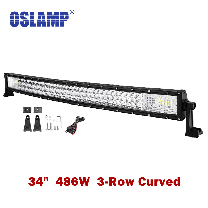 Oslamp Curved 34inch 486W 3-Row LED Work Light Bar Combo Beam Led Bar Lights Offroad Truck SUV ATV 4x4 4WD Pickup DC12v 24