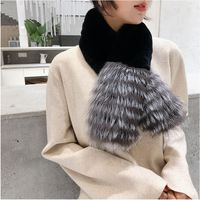 Winter Black Real Rex Rabbit Fur Scarf 100cm Women Thick Striped Gray Genuine Natural Silver Fox Scarves Fashion Warm Fur Scarf