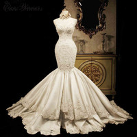 C V Heavy Beading Quality Satin Mermaid Wedding Dress 2018 Lace Appliques Court Train Luxury Plus