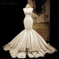 C.V Nặng beading Satin Chất Lượng Mermaid Wedding Dress 2018 Ren Appliques Tòa Train Luxury Cộng Với Kích Thước cưới-áo cưới W0020