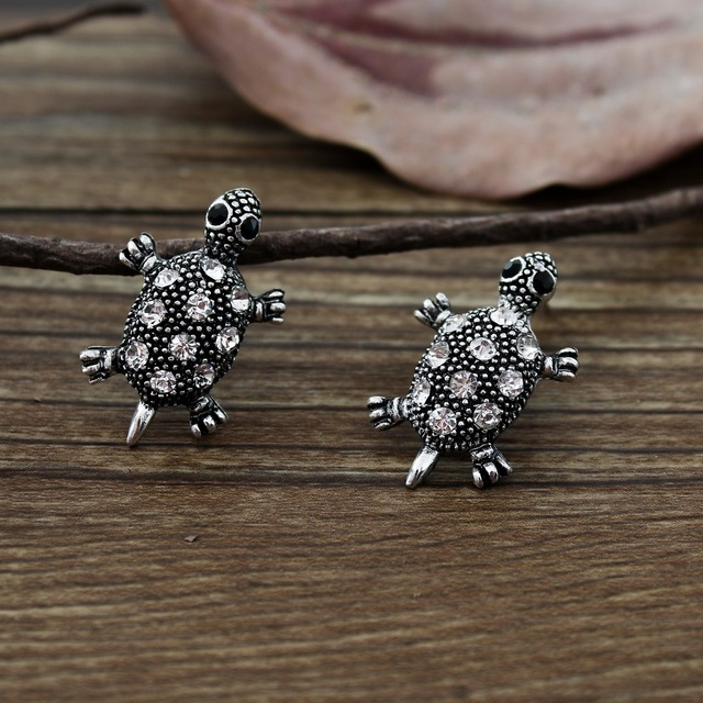 New Japan and South Korea style restoring ancient ways animals earrings cute tortoise earpins crystal animal jewelry gifts