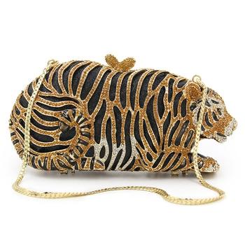 Luxury Crystal Tiger Shape Bags Women High-end Full Diamond Animal Evening Clutch Bag Gilded Rhinestone Ladies Party Handbag