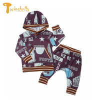 Belababy Baby Boy Clothing Set Fashion Sports Hoodies And Pants Suits Star Football Printed Kids Streetwear