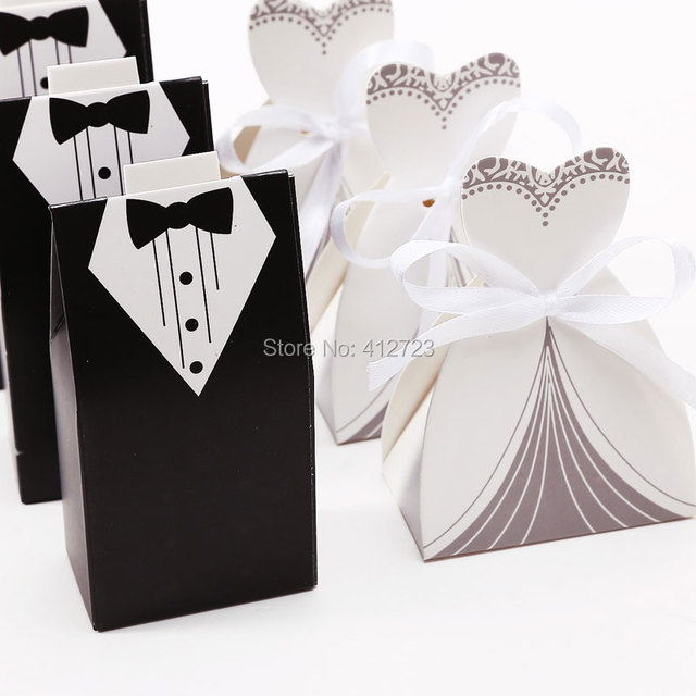 Wedding Dress Tuxedo Candy Paper Box Party Favor Gift Ribbon Groom Bridal Bags Sweets Bo Shower
