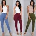 Moda Feminina Lápis Trecho Magro Denim Jeans Skinny Calças de Cintura Alta Calças Jeans