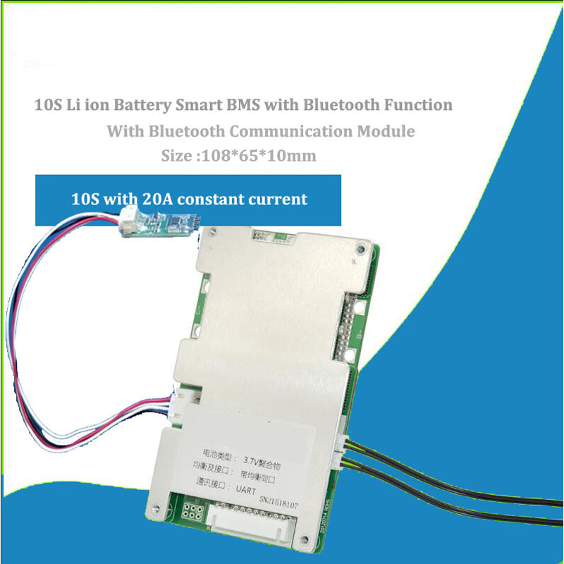 US $7 3 |10S 36V li ion Battery smart Bluetooth BMS and PCB of 42V 18650  Lithium software BMS with UART communication 60A current-in Integrated