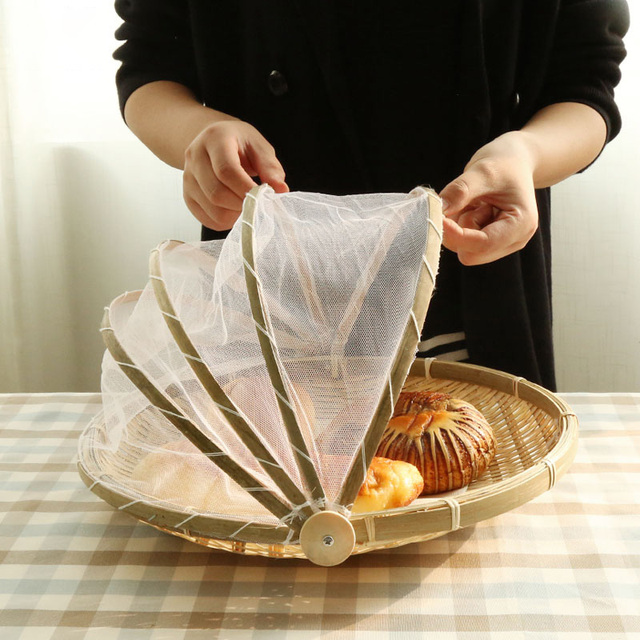 Artesanal de Bambu Bandeja de Frutas Cesta De Vime Do Piquenique À Prova de Poeira À Prova de Tecido Bug Pão Comida Pratos Tampa Com Gaze Vime Panier