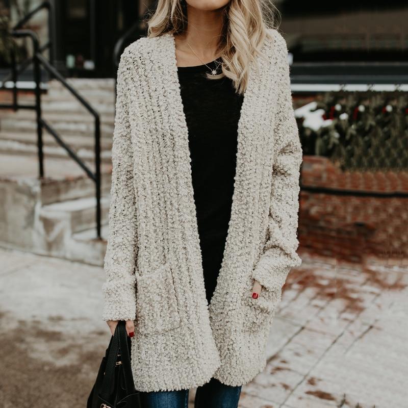 Casual Knitting Long Cardigans Female Loose Kimono Cardigans 2018 Autumn  Winter Knitted Jacket Coats Pockets Sweaters Cardigans 9aca1894f