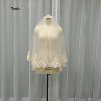 2017 New Arrival Champagne Lace Edge Tulle Wedding Veil One Layer Bride Veil With Comb Wedding