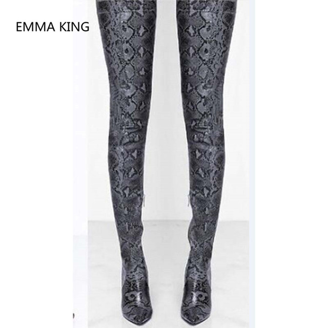 New Fashion Snake Prints Over The Knee Cowboy Boots Women Pointed Toe Sexy Thin High Heels Ladies Winter Shoes Thigh High Boots