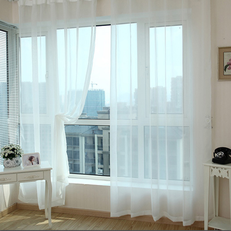 Redcolourful White Panel Tulle Curtains