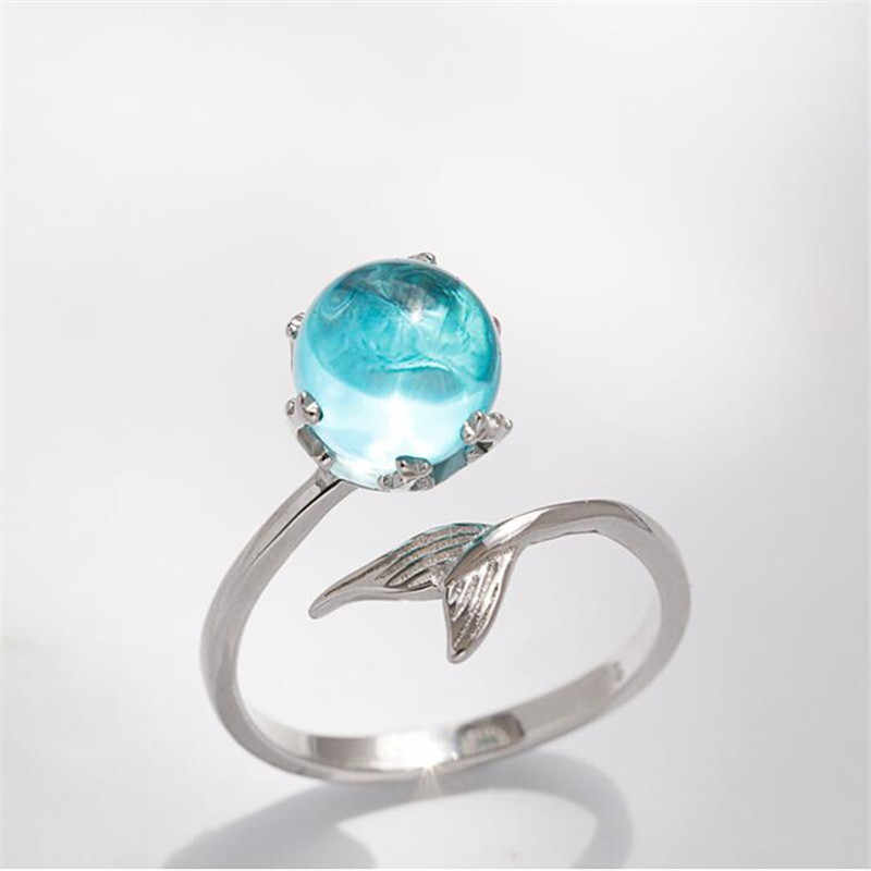 925 Sterling Silver Blue Crystal Mermaid Bubble Open Rings For Women Wedding Birthday Gift Creative Fashion Jewelry jz137