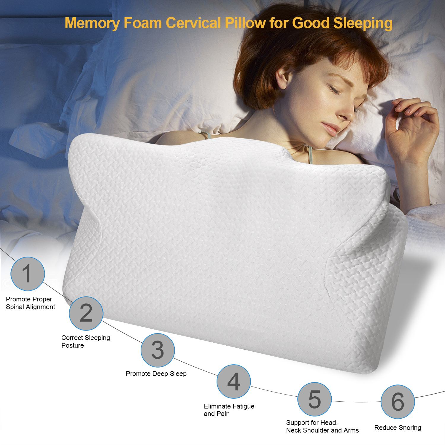 CPAP PillowMemory Foam Neck PillowMassage Ergonomic Anti snoring Sleeping Pillow Aid Bedding Supplies with Pillowcase-in Sleep & Snoring from Beauty & Health
