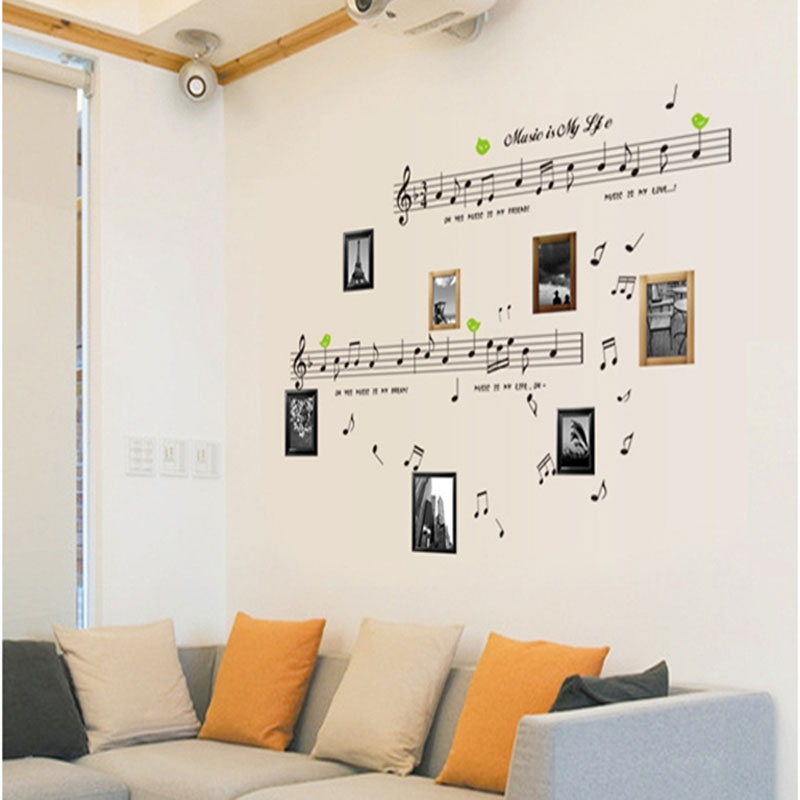 free shipping 1set large size 70 120cm music sticker music is my