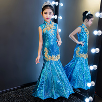 Royal Blue Mermaid Flower Girl Dresses Sequined Princess Dress Evening Party Backless Kids Pageant Dress Birthday Costume B80