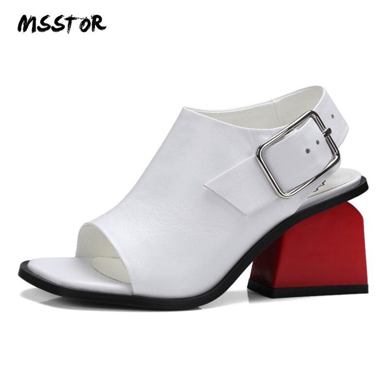 MSSTOR Peep Toe Women Summer Sandals Fashion Party Sexy White Buckle Strap High Heels Sandals Women